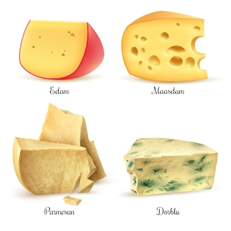 Jakość sera 4 realistyczne obrazy zestaw