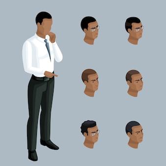 Jakościowa izometria, biznesmen pokazuje, że mężczyzna jest afroamerykaninem. postać z zestawem emocji i fryzur do tworzenia ilustracji