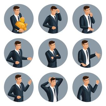 Jakościowa izometria, zestaw biznesmenów awatara, z emocjonalnymi gestami, złością, radością, rozpaczą, aby stworzyć własny wizerunek biznesmena