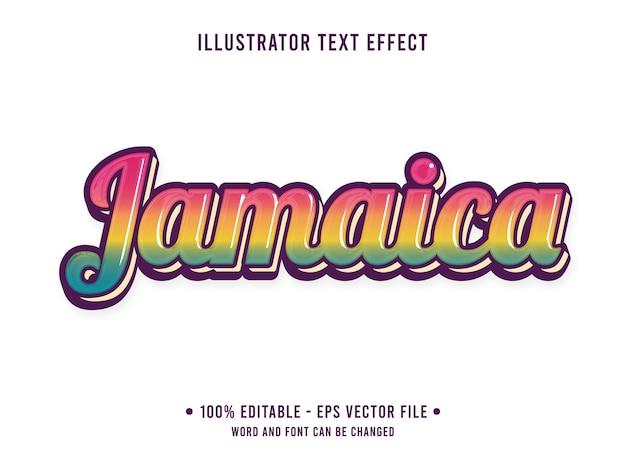 Jamajka edytowalny efekt tekstowy prosty styl z kolorem tęczy