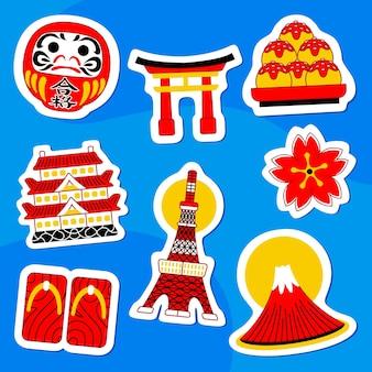Japan sticker pack w płaskim stylu