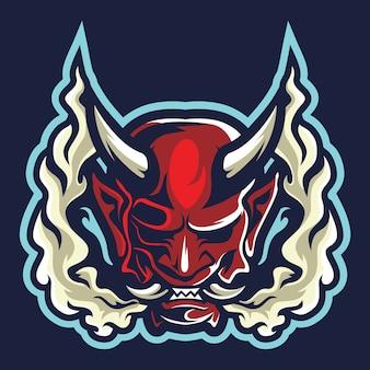Japanesse diabeł maska esport logo ilustracja