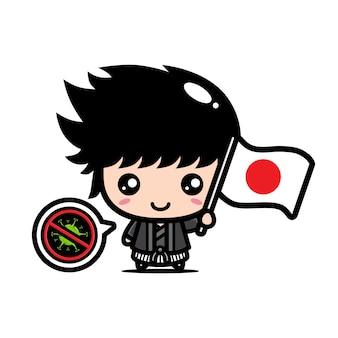 Japonia chłopiec z flagą przeciwko wirusowi
