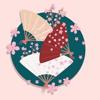 Japonia fan i kwiaty