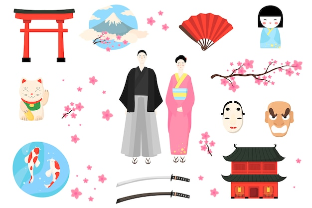 Japonia ikona, japończycy ilustracja, kobieta kreskówka mężczyzna postać w tradycyjnym stroju, zestaw kultury azjatyckiej na białym tle