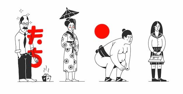 Japonia. ilustracja kreskówka z ludami azjatyckimi. znaki japońskie, białe tło. mężczyzna, kobieta, zapaśnik sumo, uczennica. styl konturu.