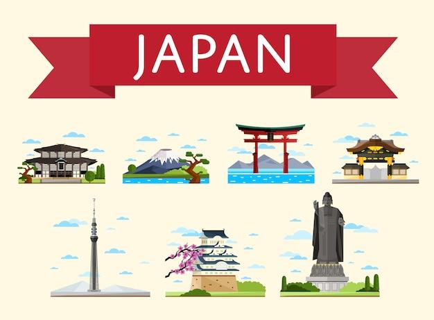 Japonia koncepcja podróży ze słynnymi atrakcjami