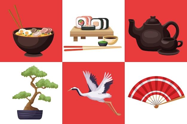 Japonia kraj sześć ikon