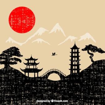 Japonia krajobraz w stylu grunge