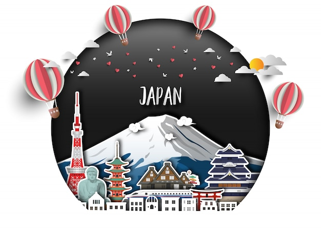 Japonia landmark global travel and journey tle papieru.