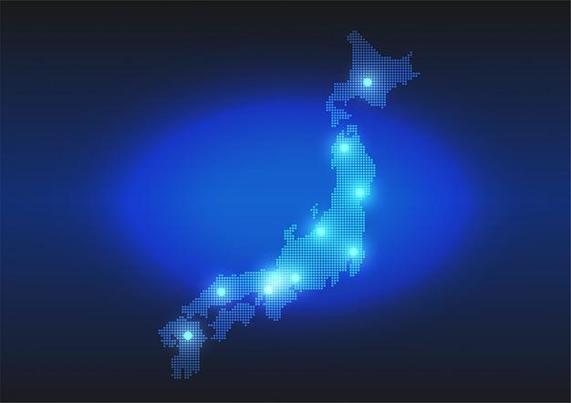 Japonia mapa przerywana w stylu cyfrowym