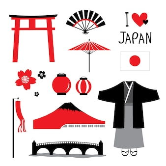 Japonia płaskie ikony zaprojektuj zestaw podróżny