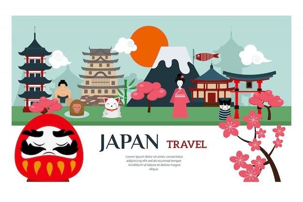 Japonia punkt orientacyjny podróży wektoru plakat