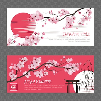 Japonia sakura zestaw poziome banery