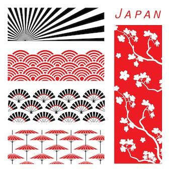 Japonia tapetowy tło dekoruje projekta kreskówki wektor