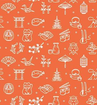 Japonia tło bez szwu z ikonami zarys na czerwono. ilustracja wektorowa