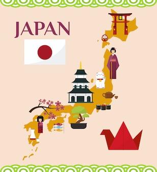 Japonia turystyki i podróży ilustracja. mapa japonii z japońskimi zabytkami i symbolami. świątynia itsukushima, flaga, sakura, pagoda, bonsai, maneki neko.