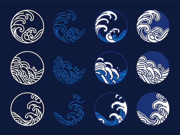 Japonia Woda I Fala Oceaniczna. Projekt Graficzny W Stylu Orientalnym. Grafika Liniowa Premium Wektorów