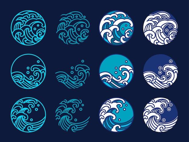 Japonia woda i fala oceaniczna. projekt graficzny w stylu orientalnym. grafika liniowa