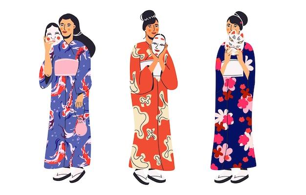 Japonki w kimono z maską kabuki w płaskiej konstrukcji