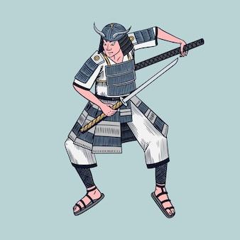Japońscy samurajowie wojownicy z szkicem broni. człowiek w pozie walki.