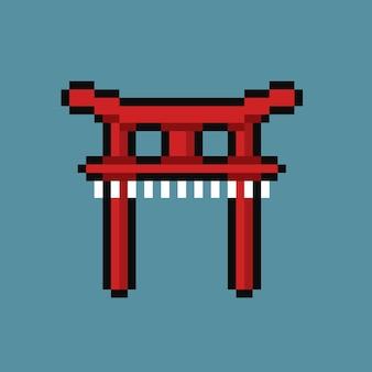 Japońska brama w stylu pixel art