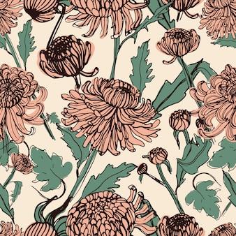 Japońska chryzantema ręcznie rysowane wzór z pąkami, kwiatami, liśćmi. ilustracja w stylu vintage.