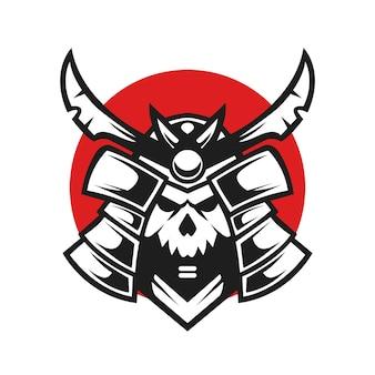 Japońska czaszka samuraj projekt ilustracji wektorowych