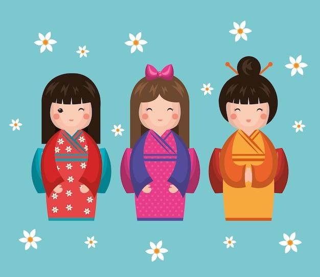 Japońska dziewczyna lalka ikona wektor ilustracja projektu