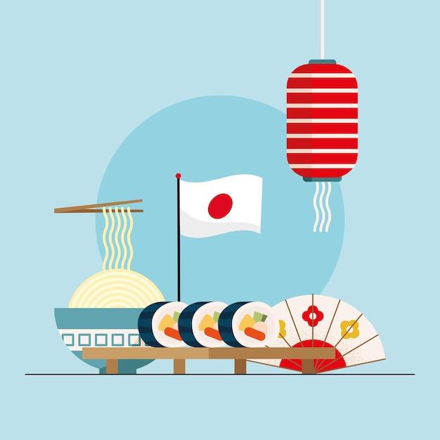 Japońska Flaga I Jedzenie Premium Wektorów
