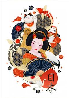Japońska gejsza otoczona kolorowymi karpiami i japońskimi elementami
