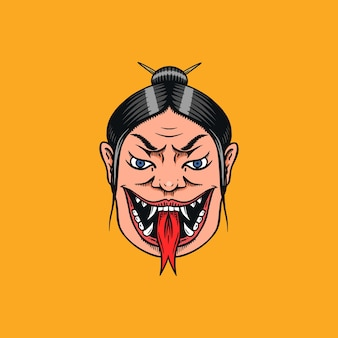 Japońska gejsza z językiem węża. krzyczeć straszna kobieta.