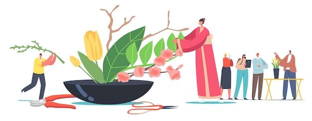 Japońska koncepcja ikebany. drobna postać kobieca w tradycyjnym japońskim kimono tworzy piękną kompozycję florystyczną kwiatów i roślin. kultura i sztuka azjatycka. ilustracja wektorowa kreskówka ludzie