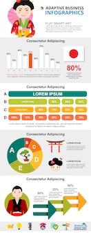 Japońska kultura lub analityki koncepcja infographic zestaw wykresów