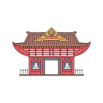 Japońska lub chińska pagodowa pawilon brama