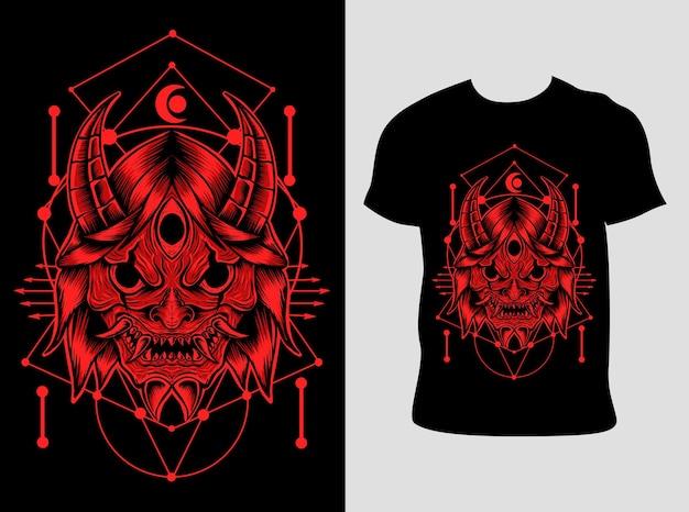 Japońska maska demona z projektem koszulki