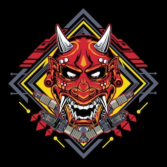 Japońska maska diabła hannya z emblematem świecy zapłonowej