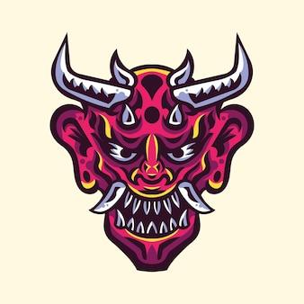 Japońska maska diabła oni ilustracja logo