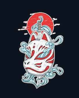 Japońska maska kitsune i ilustracja miecz katana