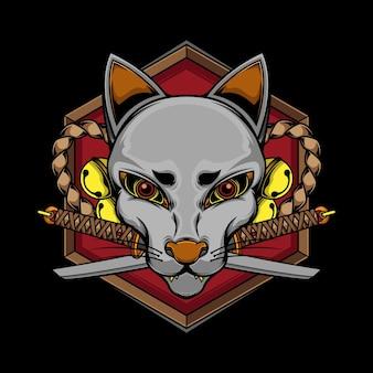 Japońska maska kitsune i katana