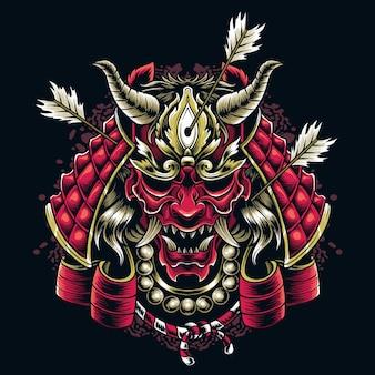 Japońska maska samuraja wystrzelona strzałami