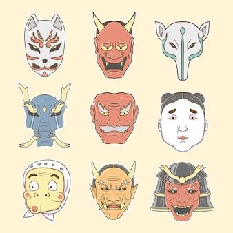 Japońska maska zestaw kolekcja ilustracji premium
