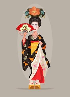Japońska piękna gejsza postać trzyma płaską ilustrację kreskówki