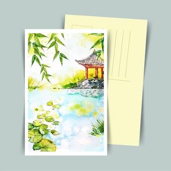 Japońska pocztówka przedstawiająca dom w stylu przypominającym akwarele