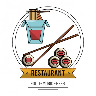 Japońska restauracja jedzenie muzyka i piwo