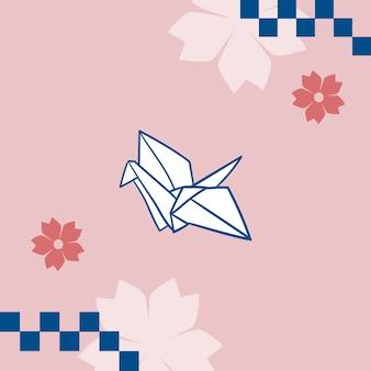 Japońska różowa sakura z papierowym żurawiem origami w tleami