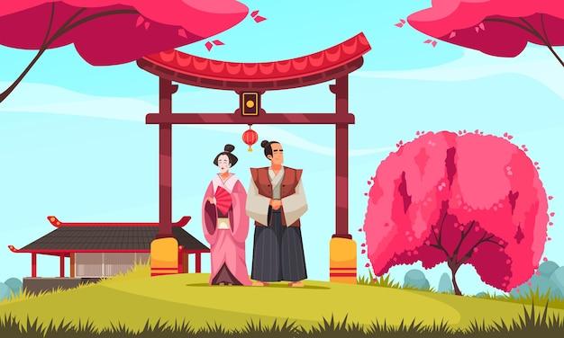Japońska tradycyjna kompozycja w plenerowej scenerii i para w starożytnych kostiumach z bramą i kwitnącą sakurą