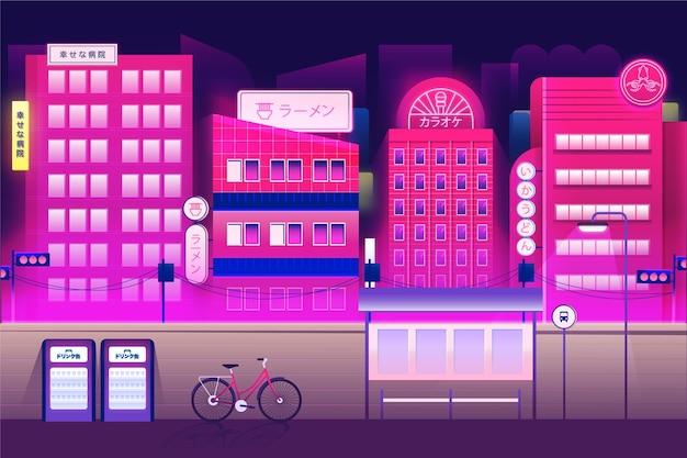 Japońska ulica w neonowych kolorach