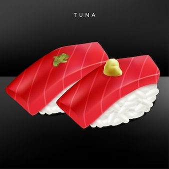 Japońska wyśmienita restauracja lub restauracja sushi bar realistyczna ilustracja tuńczyka lub sushi z toro sushi z imbirem