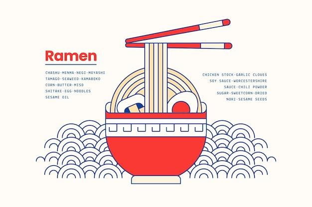 Japońska zupa ramen jedzenie w tle miski